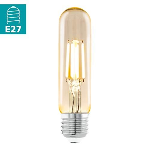 EGLO LED E27 Lampe, Amber Vintage Glühbirne in Röhrenform, Retro Beleuchtung, 3,5 Watt (entspricht 22 Watt), 220 Lumen, E27 LED warmweiß, 2200 Kelvin, LED Leuchtmittel, Edison Glühbirne T32, Ø 3,2 cm