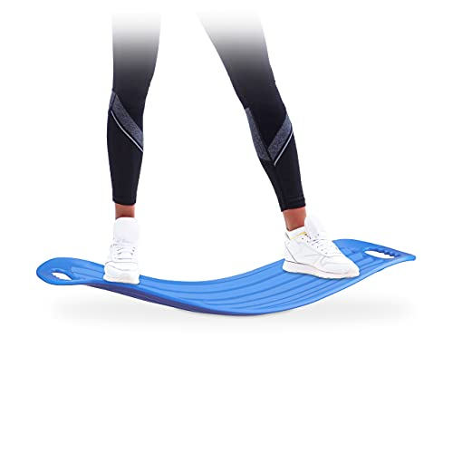 Relaxdays Fitness Tabla Equilibrio, Azul, 9 x 65 x 28 cm