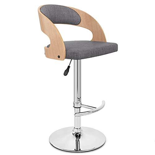 DYY Mode Placage Bar Chaise en Forme de T Pied Pied en Bois Massif Retour Tissu Art Coussin De Siège Peut Soulever Rotation Bar Bar Café Haut Tabouret (Couleur : G)