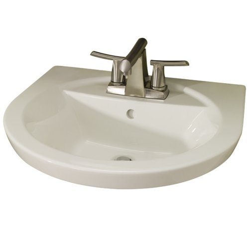 American Standard 0403004.222 Tropic Petite Above Counter Or Drop Lavatory Sink with 3 Faucet Holes (4 Centers), 4-Inch, Linen