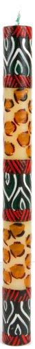 Afrika-Deko, Stabkerze 23cm Uzima handbemalt aus Afrika handgefertigte afrikanische Kerze Spitzkerze