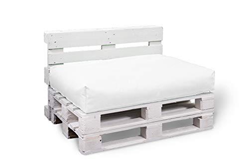 BuBiBag Palettenkissen Sitzkissen Sitzauflage Sitzfläche für In & Outdoor Größe & Farbe auswählbar (80x60x10 cm, weiß)