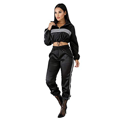 Xinvivion Damen Reflektierendes 2 Teiliges Set mit Tunnelzug - Crop-Top und Hose - Joggeranzug im Hip Hop Club-Outfit