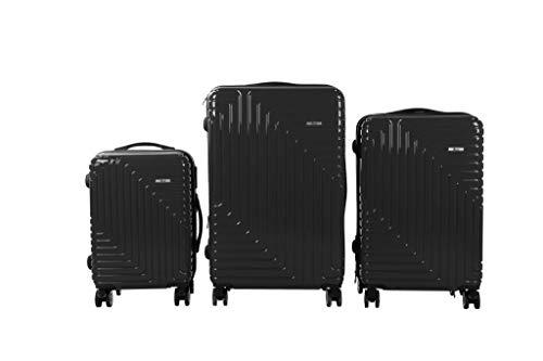 3 TLG TSA Kofferset IMEX Koffer Trolley HARTSCHALE POLYCARBONAT ABS GESCHÜTZES Design Model 3600 SCHWARZ
