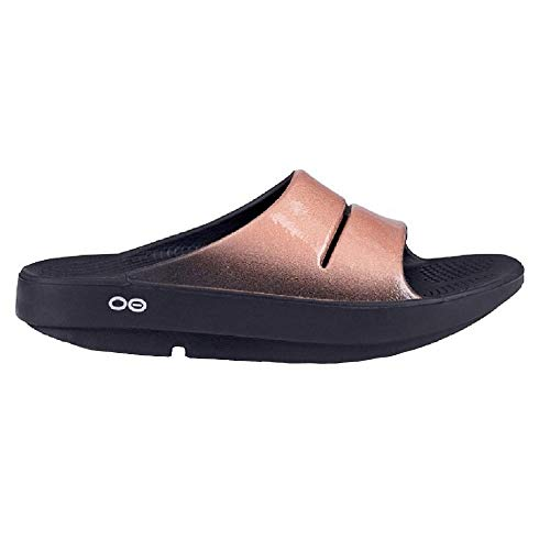 OOFOS OOahh Luxe Slide Sandal - Women's Post Exercise Active Sport Recovery Sandals w/Foam Arch Support Reduce Stress on Sore Feet, Knees, Ankles & Joints - Black/Gold, 5 US Women