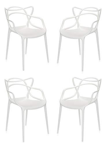 Totò Piccinni Sedie Infinity, Moderne Design impilabile(L)54x(P)55x(A)82 cm (Bianco, 4)