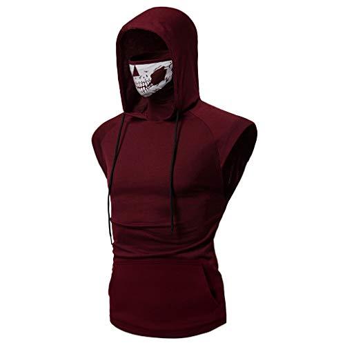 Men's Hoodie,Skull Mask Pullover Hippie Casual Sleeveless Workout Tank Top Sweatshirt Red