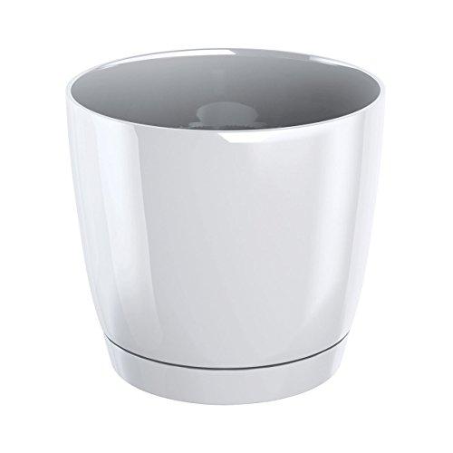 Pot de fleurs rond avec soucoupe Coubi - 12 cm - Blanc -