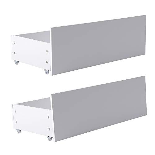 DORAFAIR Set van 2 Onder bed Opbergladen met wielen, Scandinavische onderbed lades Space Saver, Wit