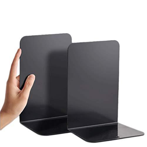 WUHE Fermalibri 1/2 Paio L a Forma di sostegni Verticali Libro Fine Metallo fermalibri for la casa, Commerciale, School Book Desk Bagagli 7.6x3.7x5.3in reggilibri (Color : Black, 尺寸 Size : 1pair)