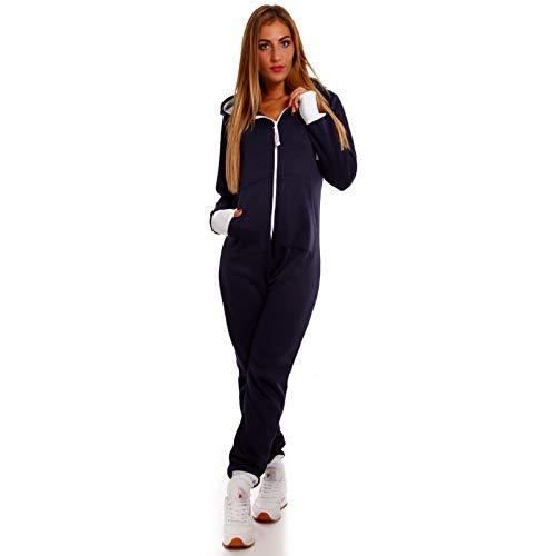 Crazy Age Basic Jumpsuits Ganzkörperanzug Einteiler One Piece Schlafanzug Overall Damen Jumpsuit Kuschelig und warm (M, Schwarz)