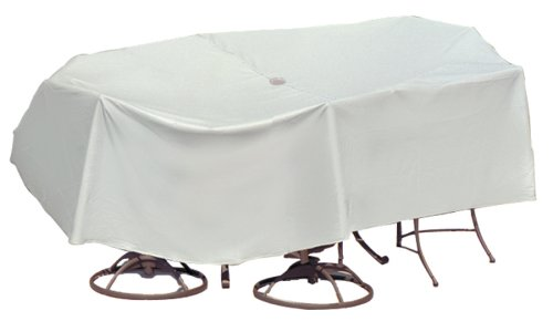 Protective Covers Weatherproof Patio Table and Highback Chair Set Cover, 48 Inch x 54 Inch Round Table, Gray