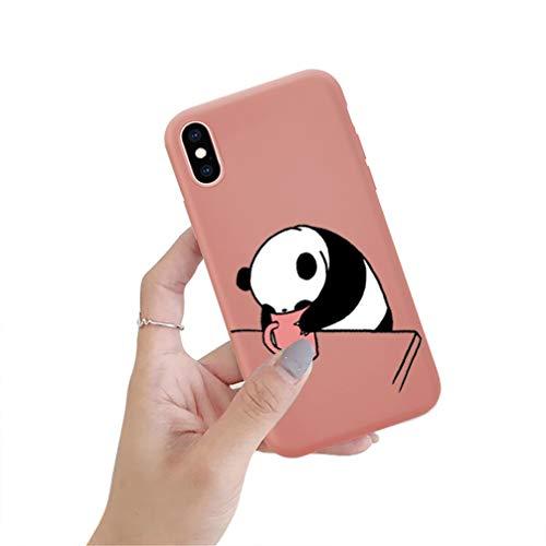 CXvwons Hülle iPhone X XS, Hülle Case iPhone X Mat Schutzhülle Neu Morandi Panda Painted Muster Kratzfest TPU Silikon Bumper iPhone X Handyhülle Schutzhülle Tasche für Apple iPhone XS