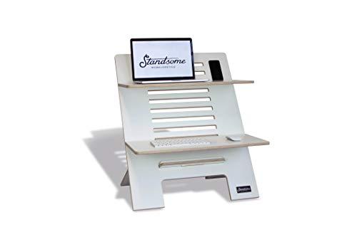 Standsome Double White – Der Stehschreibtisch Aufsatz aus Holz, höhenverstellbarer Schreibtisch Aufsatz, Sitz Stehtisch weiß und Schreibtisch Erhöhung