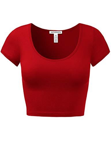 Women's Cotton Basic Scoop Neck Crop Short Sleeve Tops