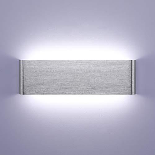 Lightess 16W Applique da Parete Interno Moderno Lampada da Parete LED Lampada a Muro Luce in Alluminio per Soggiorno Camera da Letto Scale Corridoio (bianco freddo, argento)