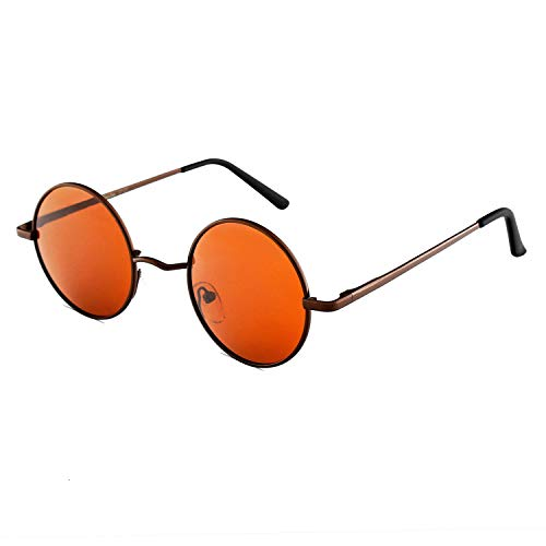 OULIQI Occhiali da Sole Donna e Uomo Rotondi Polarizzati Specchiati Retrò Vintage Doppio Ponte Tondi Montatura in Metallo Protezione UV400