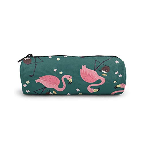 Cylinder Cosmetic Bag Seamless Pattern Flamingo Pencil Case Small