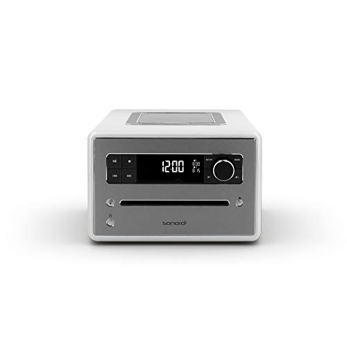 sonoro QUBO CD Player mit USB, Radio & Bluetooth (UKW/FM, DAB Plus, MP3, Wecker, dimmbares Display, Kopfhöreranschluss) Design Digital-Radio in Silber