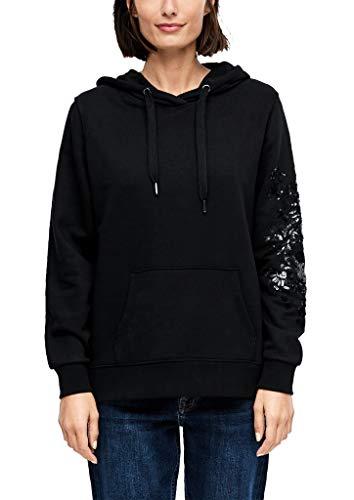 s.Oliver RED Label Damen Hoodie mit Pailletten-Embroidery Black M