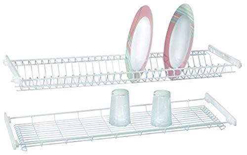 Casabriko Escurreplatos de empotrar 86 cm, acero barnizado, blanco, para unidad de pared de 90 cm