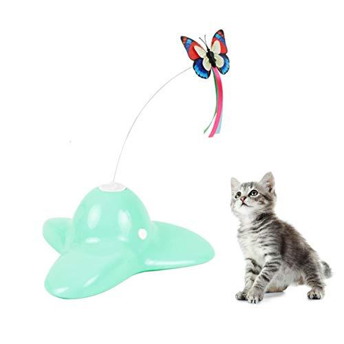 Suhaco Giocattoli per Gatti Giocattolo Rotante del Gattino della Farfalla Elettrica Giocattolo Interattivo per Gatti Divertente Gioco Farfalla Automatica (Verde)