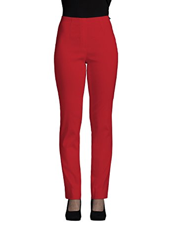 Robell Damen Slim Arbeitshose-Stretchhose, Rot(40), Gr.- 36