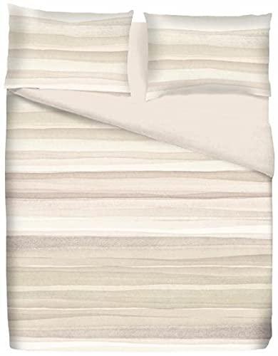 CosiCasa Sacco Copripiumino Singolo Cotone 100% [155X200 + 40 Cm] | Sacco Piumone Singolo Reversibile Fantasia a Righe Beige| Parure Copripiumino e Federe [50x80] Completo 1 Piazza
