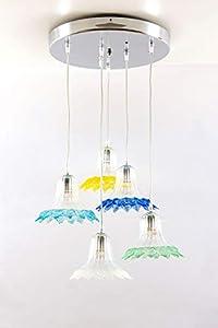 Lámpara de techo de cristal de Murano con 5 luces de cristal y multicolor