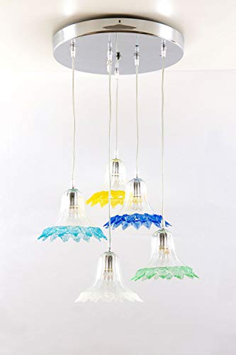 Suspension en verre de Murano 5 lumières multicolores