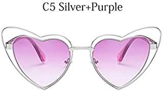 TYJYY Sunglasses Heart Sunglasses Women Fashion Cat Eye Sun Glasses Female Metal Vintage Glasses Pink Blue Eyewear Oculos