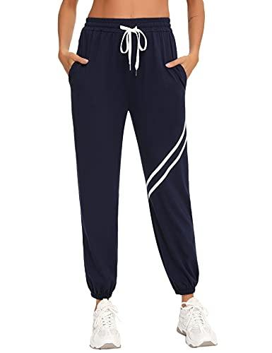 Doaraha Pantalon Chandal Mujer Pantalones Deporte Largos Algodón Deportivos Yoga Fitness Jogger Sweatpants con Bolsillos (1518# Azul Marino, Small)