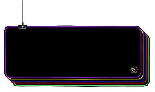 Gembird - Alfombrilla de ratón para juegos RGB con 10 configuraciones de efectos de luz