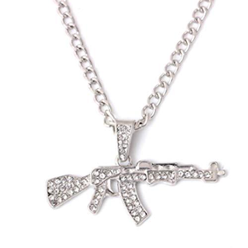 GHJ SportwarenAk-47 Gun Form Anhänger Halskette Mit Kristall Für Männer Silber Gold Ketten Schmuck Geschenk Großhandel, B