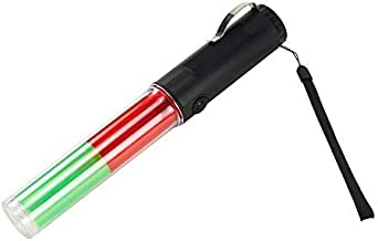 Mufly 10inch Signal Traffic Wand Baton LED Flashlig,Traffic Safety Baton with Light Discoloration for Marshalling,in 3 Discoloration Flashing modes,Signal Indicator Stick (red&green)