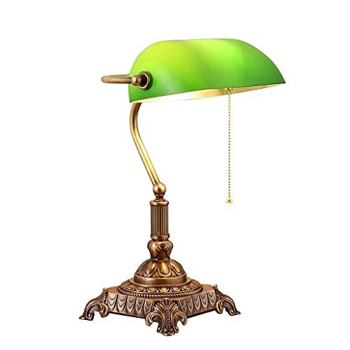 WZMPH Lámpara de Mesa de iluminación Decorativa Lámpara de Mesa, Luz de Escritorio con Sombra de Cristal Verde y sólido de Alta Gama Toda la Base de Cobre, lámpara de Escritorio de Lectura