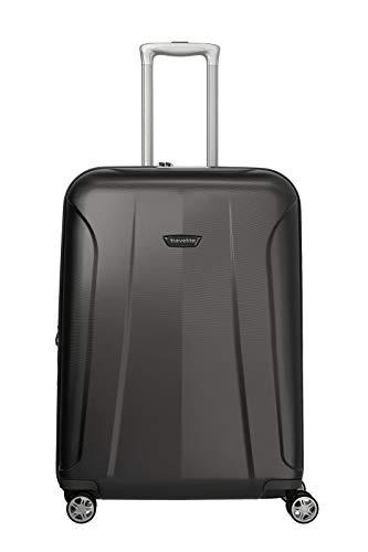 travelite 4-Rad Koffer Größe M mit Dehnfalte + TSA Schloss, Gepäck Serie ELBE: Widerstandsfähiger Hartschalen Trolley, 075548-04, 67 cm, 73 Liter (erweiterbar auf 84 Liter), anthrazit (grau)