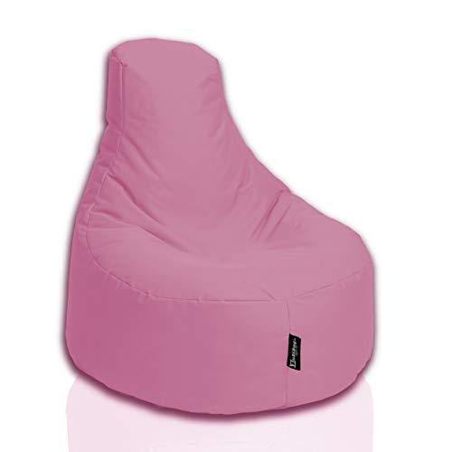 BuBiBag Sitzsack Gamer Junior Sessel Sofa Sitzkissen Sitzmöbel Beanbag Sitz-Kissen für Kinder (55 cm Durchmesser,Puderrosa)