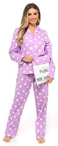CityComfort Pigiama Donna Due Pezzi in Caldo Cotone con Bottoni E Pantaloni Lunghi S - XL, Idee Regalo per Lei (Lilla Lavanda, S)