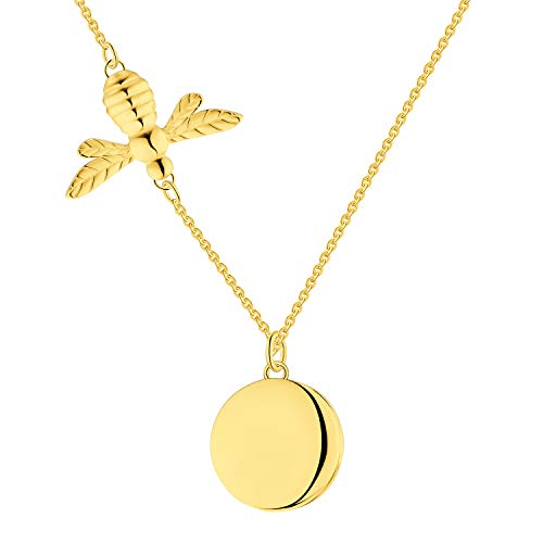 FJ Women's 18ct Yellow Gold Plated Plain Silver Bee Locket Pendant Necklace,45+5 CM Necklace