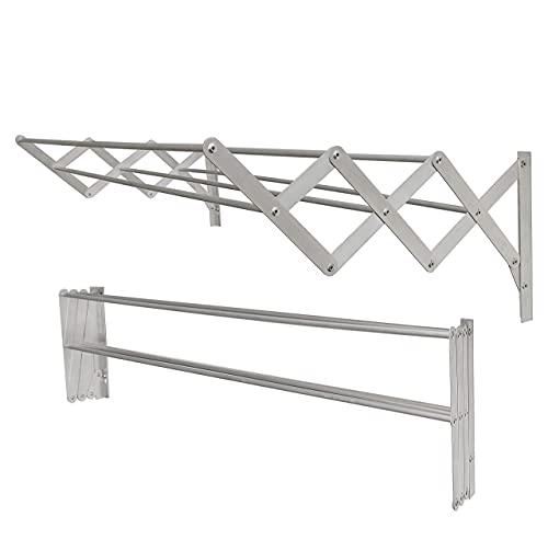 Tendedero de Pared Extensible de Aluminio para Exterior y Interior, Compacto y práctico (6,0 Metros / 100cm)