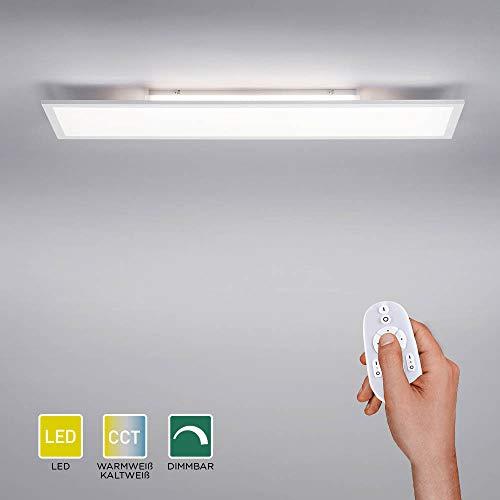 LED Panel flach, 100x25, dimmbare Decken-Lampe mit indirekter Deckenbeleuchtung | Farbtemperatur mit Fernbedienung einstellbar, warmweiß - kaltweiss | Decken-Leuchte für Wohnzimmer, Küche und Bad