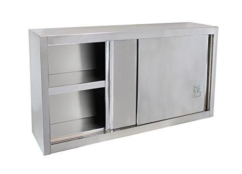 Beeketal 'BWS100' Gastro Küchen Wandhängeschrank aus Edelstahl mit auf Rollen gelagerte Schiebetüren, Hängeschrank mit fest verbautem Einlegeboden - Außenabmessungen (L/B/H): ca. 1000 x 400 x 650 mm