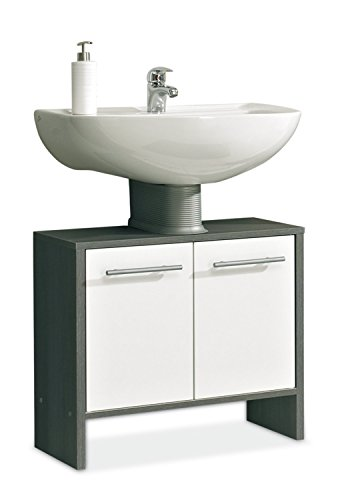 Waschbeckenunterschrank Waschtischunterschrank | Schwarz | Weiß Hochglanz | 2 Türen