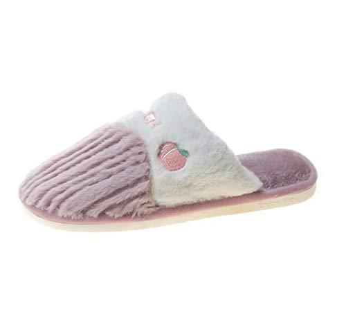 B/H Zapatillas de casa para Mujer ,Zapatillas de algodón de Felpa Antideslizantes cálidas para Damas, Zapatos para Caminar para Actividades en Interiores y Exteriores en Invierno.-púrpura_38