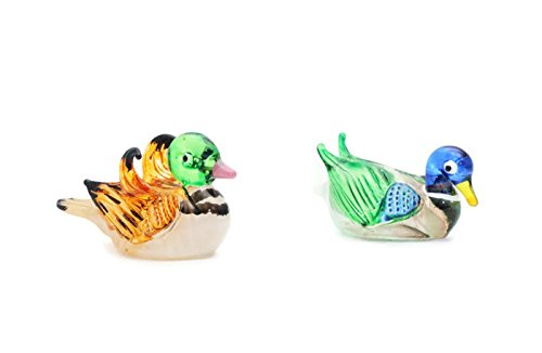 ChangThai Design Sweet lovely Mandarin Duck Handcrafted MINIATURE HAND BLOWN GLASS FIGURINE Collection
