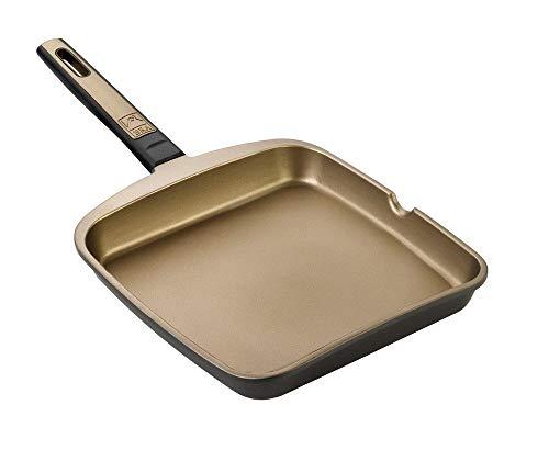 BRA Terra - Sartén Grill asador Liso, 22 cm, Aluminio
