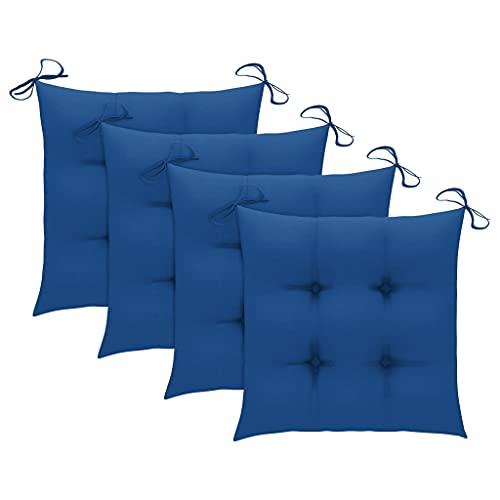 vidaXL 4X Cojines de Silla Asiento Tumbonas Patio Terraza Exterior Acolchado Almohadilla Cómoda Práctico Decoración Tela Azul 40x40x7 cm