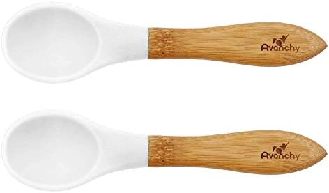 Avanchy Bamboo Baby Spoons Bamboo and Silicone Baby Spoons Baby Training Spoons Soft Tip Baby product image