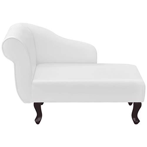 Cikonielf Divano in ecopelle con 4 gambe in legno, elegante per soggiorno, 104 x 51 x 69,5 cm, bianco